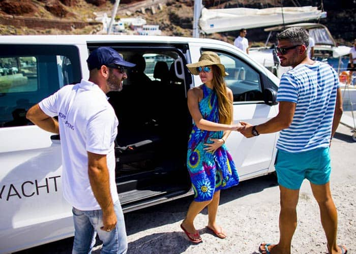 Luxury Boat Tour in Santorini - the pick-up service is included